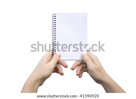 Paper clean sheet in hands in the girl