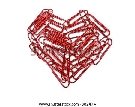 Paper clip heart - stock photo