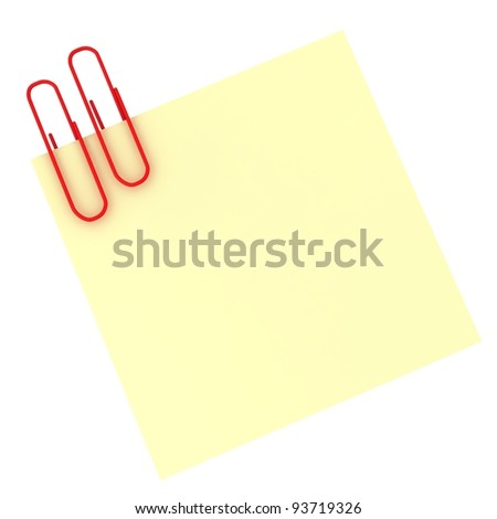 Paper clip holding a blank paper sheet - stock photo