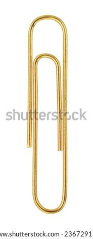 Paper Clip isolated on white with Clipping path - stock photo
