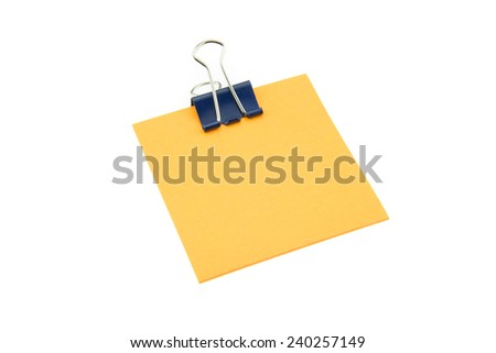 Paper clip note on isolated white background - stock photo