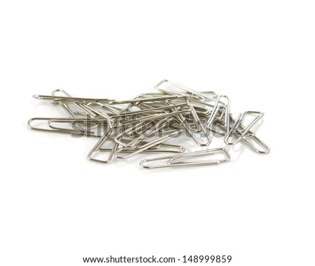 Paper clip on a white background - stock photo