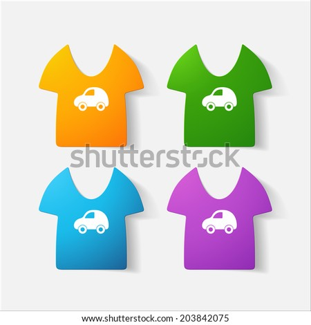 Paper clipped sticker: Children's T-shirt. Isolated illustration icon - stock photo