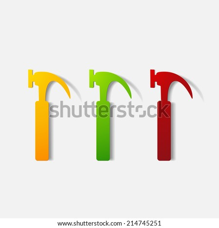 Paper clipped sticker: construction hammer. Isolated illustration icon - stock photo