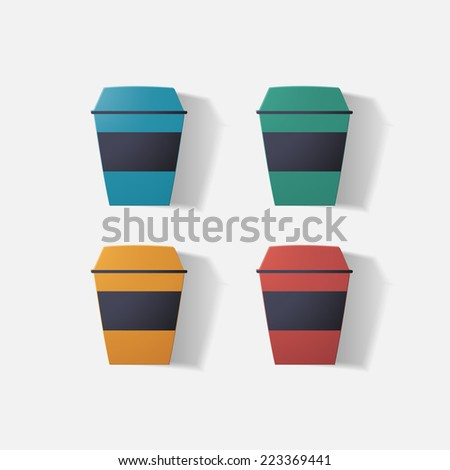Paper clipped sticker: cup of coffee. Isolated illustration icon