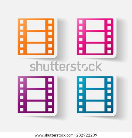 Paper clipped sticker: film. Isolated illustration icon - stock photo