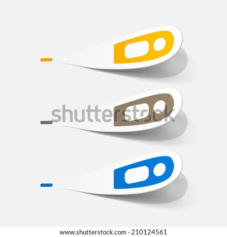 Paper clipped sticker: medical thermometer. Isolated illustration icon - stock photo