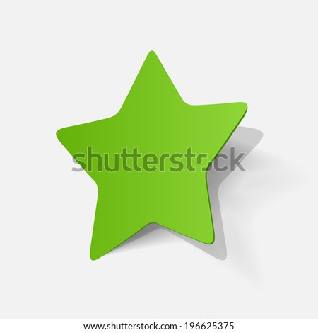 Paper clipped sticker: pentagonal star. Isolated illustration icon