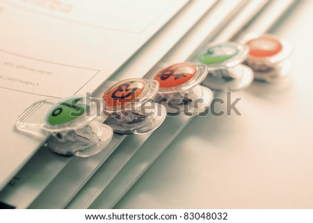 Paper Clips and Files in Warm Tone - stock photo