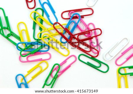 Paper clips colorful on white background