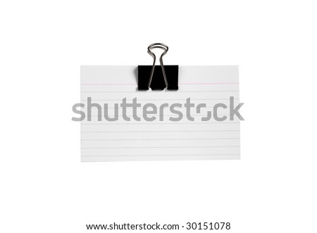 paper clips holds index cards isolated on white