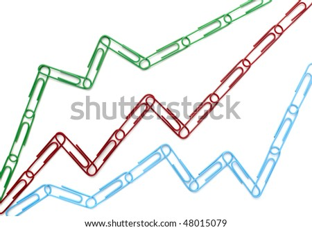 paper clips in shape of finance chart on white background - stock photo