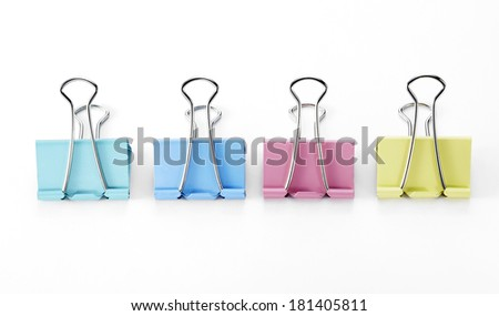 Paper Clips on White Background - stock photo