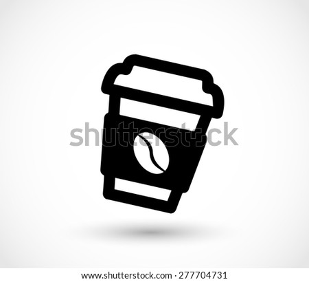 Paper coffee cup icon - stock photo