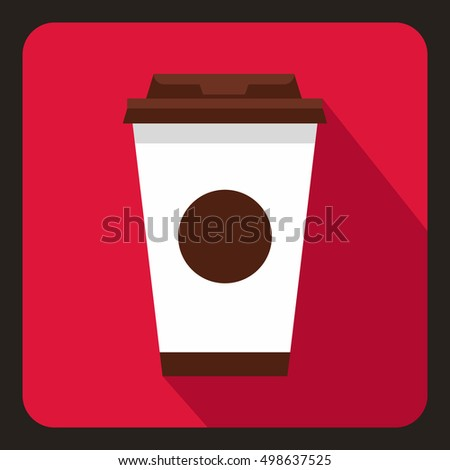 Paper coffee cup icon in flat style on a crimson background  illustration