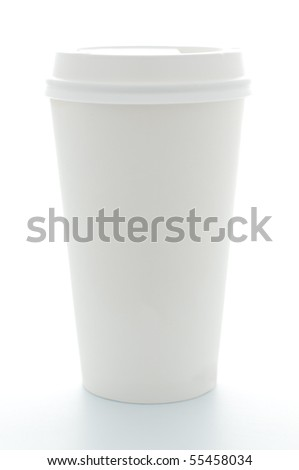 paper coffee cup with plastic top isolated on white background - stock photo