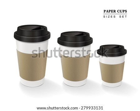 paper coffee cups set isolated on white background - stock photo