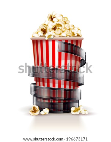 paper container full of popcorn with film tape cinema concept. Rasterized illustration. - stock photo