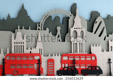 Paper craft card with London landmarks - stock photo