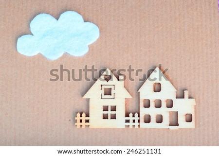 Paper craft illustrates property market - stock photo