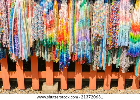 paper cranes of thousand in Japanese temple, Kyoto, Japan - stock photo