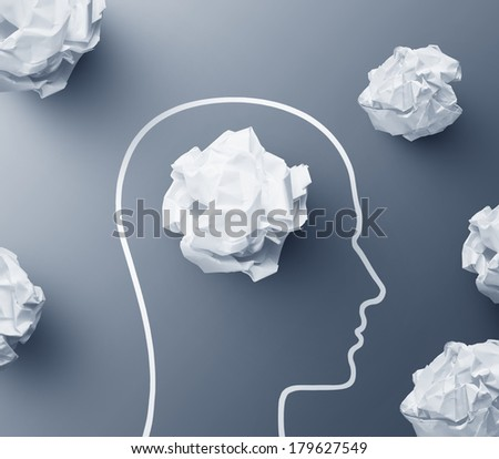 Paper crumpled idea brain concept - stock photo