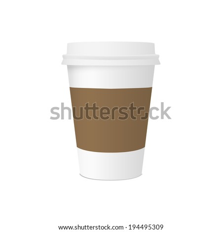Paper cup for coffee with space for design isolated on white background. raster version - stock photo