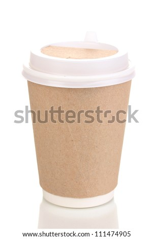 Paper cup of coffee isolated on white - stock photo
