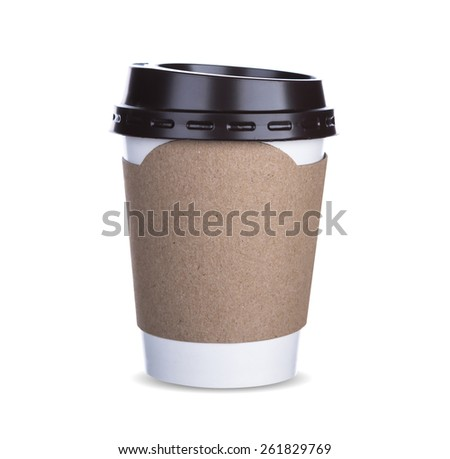 Paper cup of coffee Isolated white background with clipping path  - stock photo