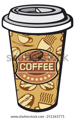 paper cup of coffee (take-out coffee, coffee in takeaway cup) - stock photo