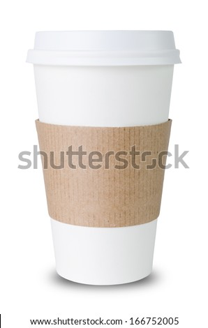 Paper cup with Sleeve ioslated before white background - stock photo