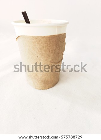 Paper cups on a white background.