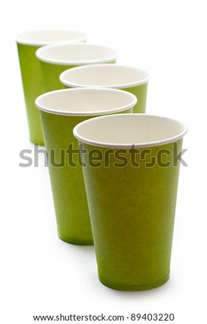Paper cups on a white background - stock photo