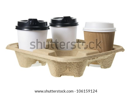 Paper Cups on White Background