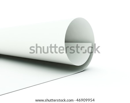 Paper curl isolated on white - stock photo