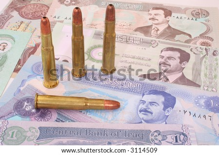 Paper Currency From Iraq With Four Bullets