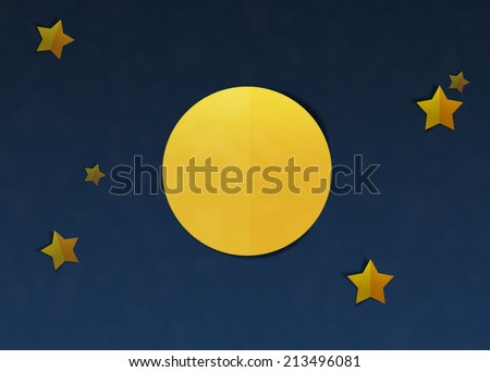Paper Cut and Paste, Full Moon and Starry - stock photo