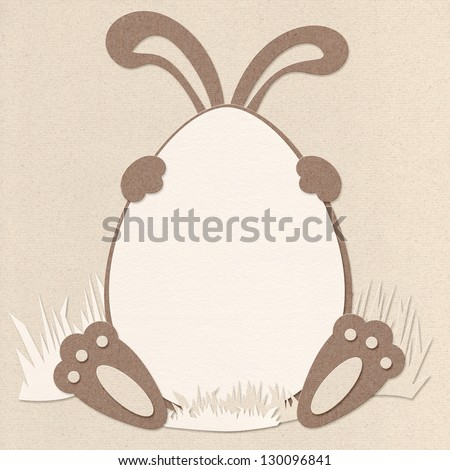 Paper cut Easter greeting card frame design - real paper used, high resolution detail - stock photo