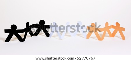 Paper cut into people hold their hands connected show human race equality on white background - stock photo