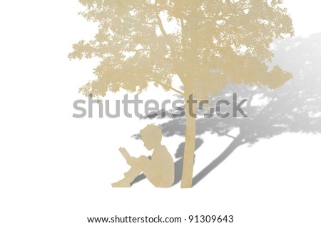 Paper cut of children read a book under tree against white background - stock photo