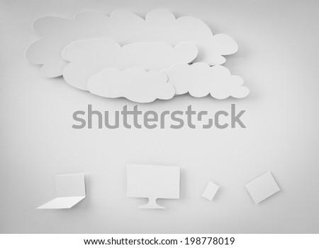 Paper cut of Cloud computing concept - stock photo