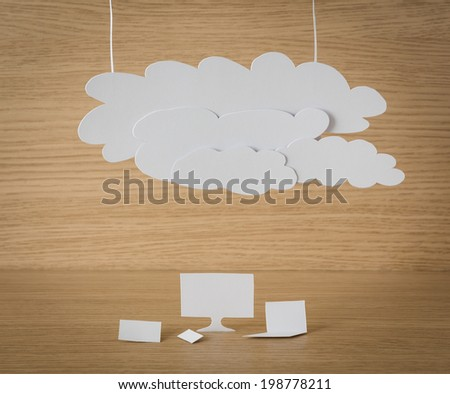 Paper cut of Cloud computing concept on wood - stock photo