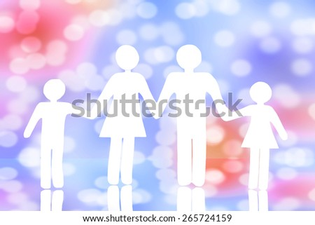 Paper cut of family with bokeh background.Family Life Insurance. - stock photo