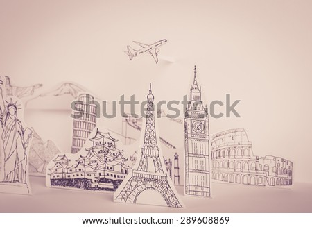 Paper cut of travel (Japan,France,Italy,New York,India,egypt) ( Filtered image processed vintage effect. ) - stock photo