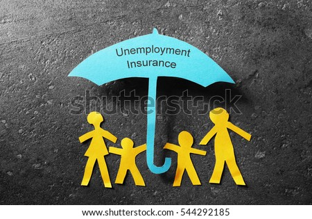 Paper cutout family of four under a blue Unemployment Insurance umbrella