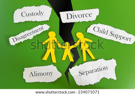 Paper cutout family with divorce related messages - stock photo
