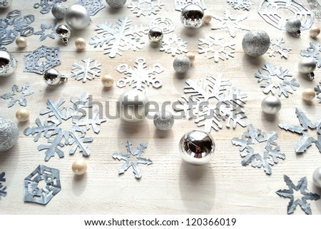 Paper cutout of snowflakes.image of witter and Christmas season.