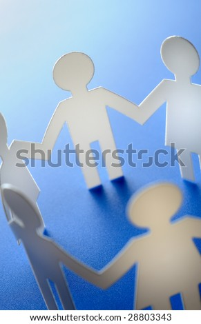 Paper cutout people - stock photo