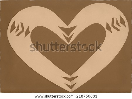 paper cutted heart in brown - stock photo