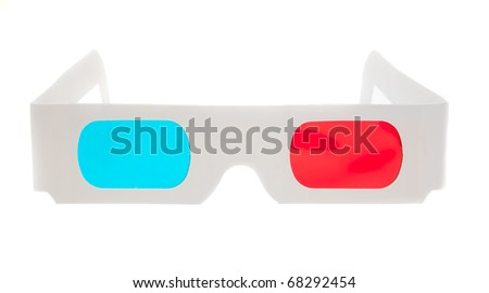 Paper 3D anaglyph glasses isolated in white background - stock photo